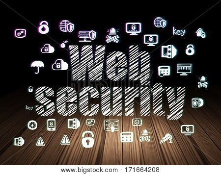 Security concept: Glowing text Web Security,  Hand Drawn Security Icons in grunge dark room with Wooden Floor, black background