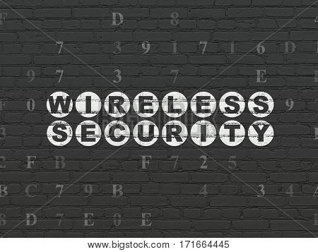 Safety concept: Painted white text Wireless Security on Black Brick wall background with Hexadecimal Code