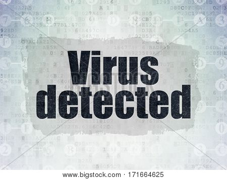 Security concept: Painted black text Virus Detected on Digital Data Paper background with  Scheme Of Hexadecimal Code