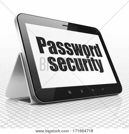 Protection concept: Tablet Computer with black text Password Security on display, 3D rendering