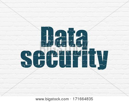 Safety concept: Painted blue text Data Security on White Brick wall background