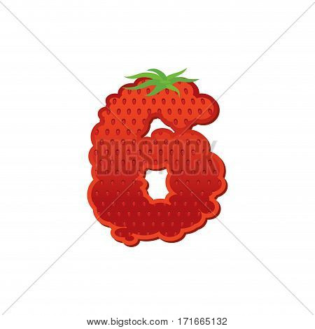 Number 6 Strawberry Font. Red Berry Lettering Six Alphabet. Fruits Abc