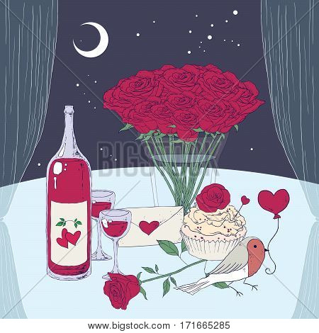 Romantic evening with wine and roses, vector illustration