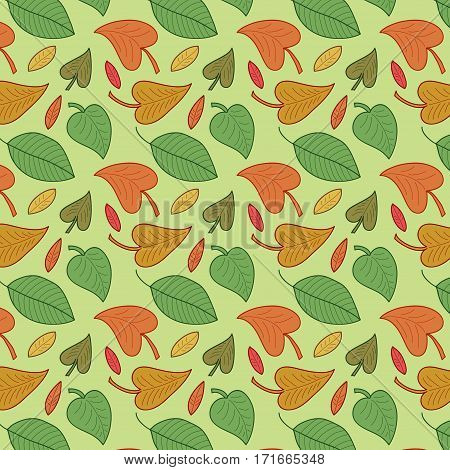 Vector leaves seamless pattern. Foliage color background