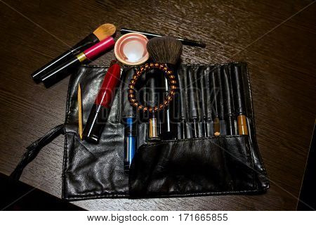 Women's cosmetic bag with accessories for makeup