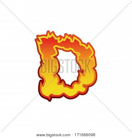 Letter D Fire. Flames Font Lettering. Tattoo Alphabet Character. Fiery Sign Alphabet