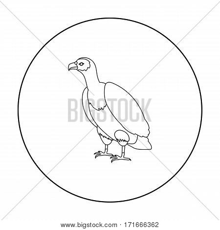 Vulture icon in outline style isolated on white background. Bird symbol vector illustration.