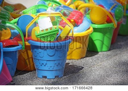 essential beach plastic tools for kids in outdoor shop - close up