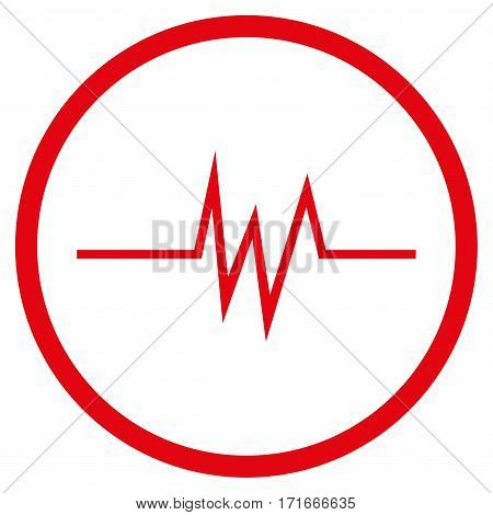 Pulse Signal rounded icon. Vector illustration style is flat iconic symbol inside circle, red color, white background.