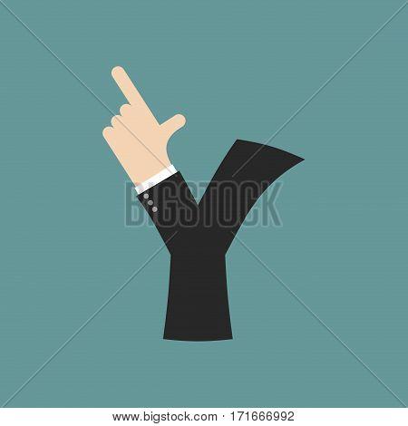 Y Letter Businessman Hand Font. It Shows Finger Print. Arm Symbol Alphabet. Sign Of Abc