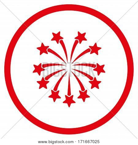 Spherical Fireworks rounded icon. Vector illustration style is flat iconic symbol inside circle, red color, white background.