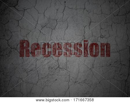 Business concept: Red Recession on grunge textured concrete wall background