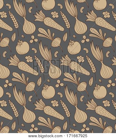 Vegetable vector seamless pattern with vegetables. Eco background. Endless texture can be used for wallpaper, website background, textile printing.