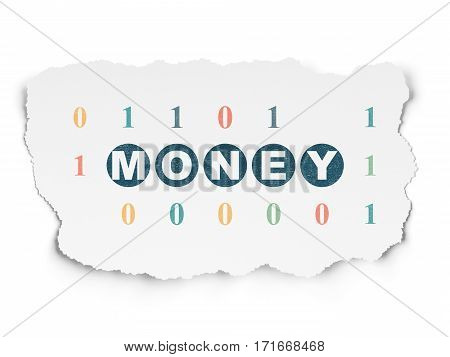 Finance concept: Painted blue text Money on Torn Paper background with  Binary Code