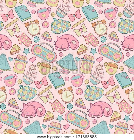 Sweet Home vector seamless pattern. Set of vector design home elements, cute cat, cups of coffee, cake, jam, alarm clocks, bows, hearts, stars, pencil, tape recorder and diary