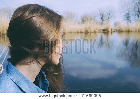 Lonely sad woman concept at the nature