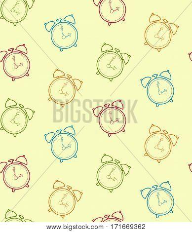 Retro alarm clock vector seamless pattern. Vintage watch hand drawn background