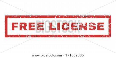 Free License text rubber seal stamp watermark. Caption inside rectangular shape with grunge design and unclean texture. Horizontal vector red ink sign on a white background.
