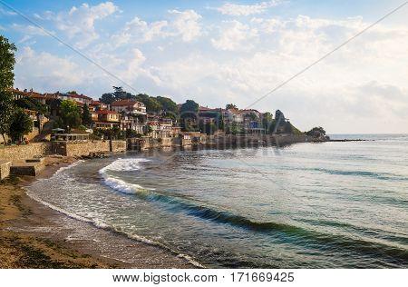 Seaside resort and ancient old town Nesebar in Bulgaria. Bulgarian Black Sea Coast.