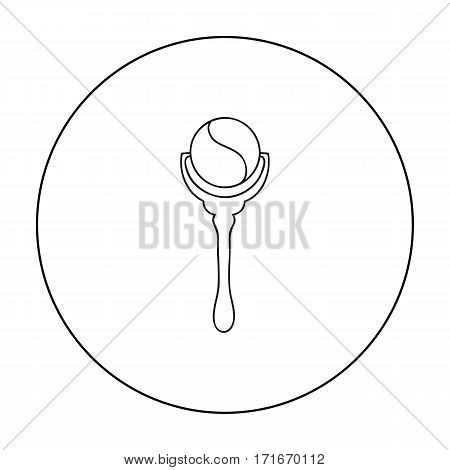 Baby rattle icon in outline style isolated on white background. Baby born symbol vector illustration.