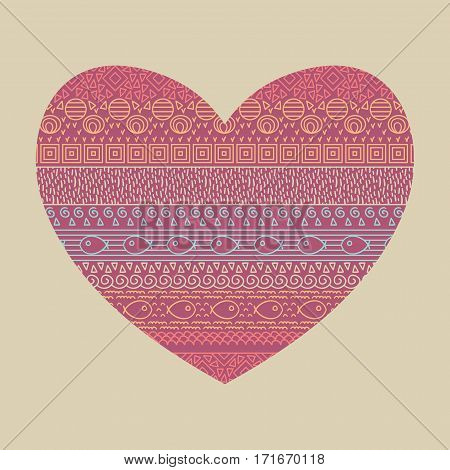 Valentine card with ethnic textile decorative native ornamental striped seamless pattern with fish in vector. Ornamental print in the shape of heart.