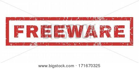 Freeware text rubber seal stamp watermark. Caption inside rectangular shape with grunge design and scratched texture. Horizontal vector red ink emblem on a white background.