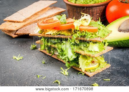 Diet Sandwiches With Guacamole And Fresh Vegetables