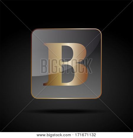 Vector button letter B, on black background