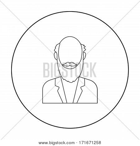 Gray beard icon outline. Single avatar, peaople icon from the big avatar outline.