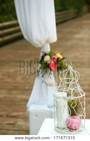 The beautiful decorations for the wedding ceremony