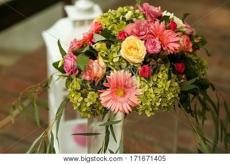 The decorations bouquet for the wedding ceremony