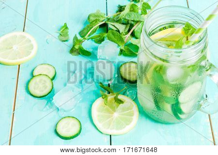 Detox Cocktail Of Mint, Cucumber And Lemon