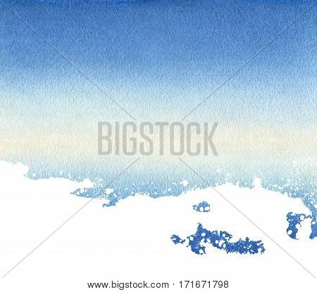 Watercolor background sky and white wave and its reflection without explicit horizon. Watercolor grafient from blue to blue through pale yellow. Texture watercolor