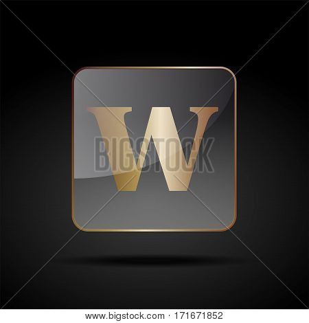 Vector button letter W, on black background