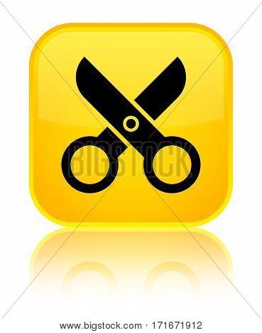 Scissors Icon Shiny Yellow Square Button