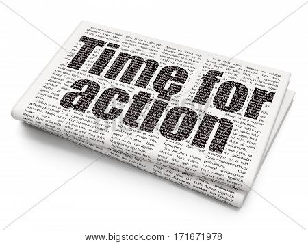 Time concept: Pixelated black text Time for Action on Newspaper background, 3D rendering