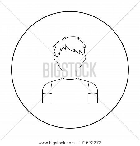 Redhead boy icon outline. Single avatar, peaople icon from the big avatar outline Stock vector