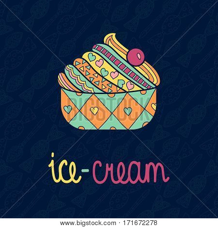 Vector tasty isolated ice cream with seamless background pattern of candy