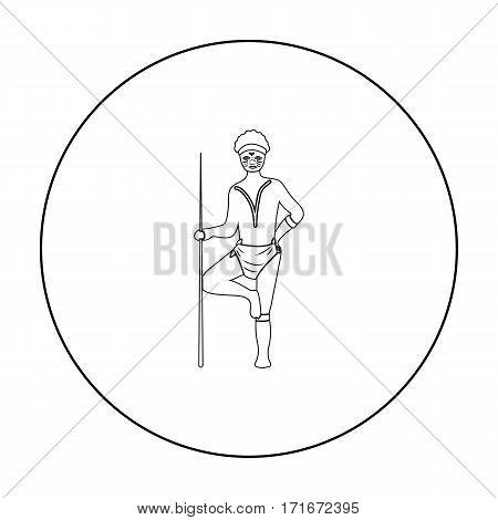 Astralian aborigine icon in outline design isolated on white background. Australia symbol stock vector illustration.