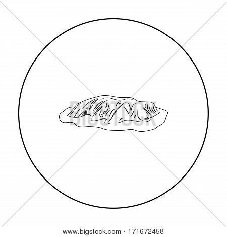 Uluru icon in outline design isolated on white background. Australia symbol stock vector illustration.