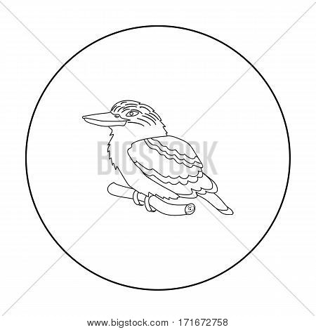 Kookaburra sitting on branch icon in outline design isolated on white background. Australia symbol stock vector illustration.