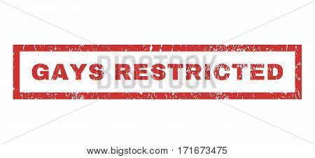 Gays Restricted text rubber seal stamp watermark. Caption inside rectangular banner with grunge design and dust texture. Horizontal vector red ink emblem on a white background.