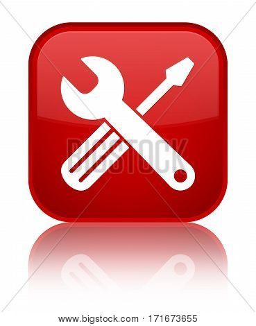 Tools Icon Shiny Red Square Button