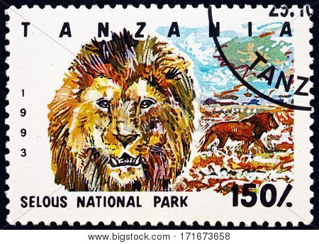 TANZANIA - CIRCA 1993: a stamp printed in Tanzania dedicated to Selous national park circa 1993