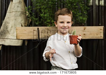 Kid Gardening Greenery Growing Leisure