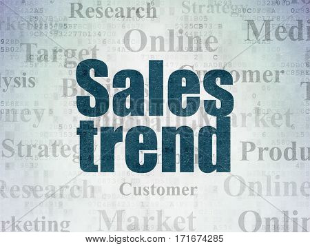 Marketing concept: Painted blue text Sales Trend on Digital Data Paper background with   Tag Cloud