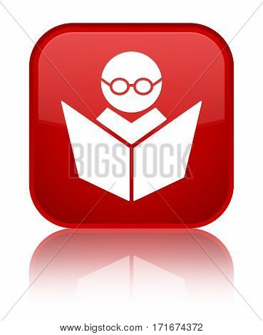 Elearning Icon Shiny Red Square Button