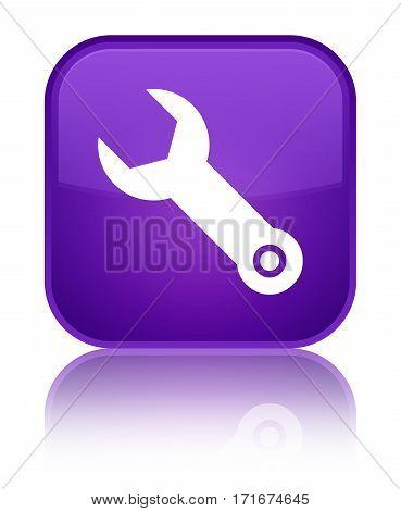 Wrench Icon Shiny Purple Square Button