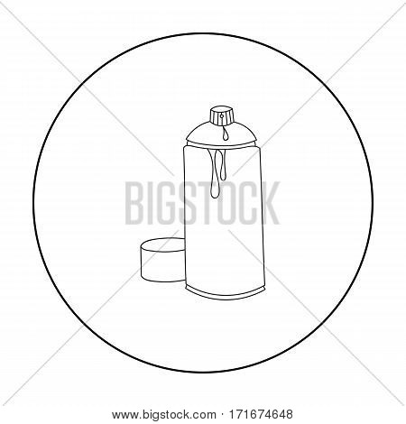 Spray paint can icon in outline style isolated on white background. Artist and drawing symbol vector illustration.