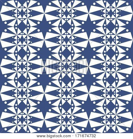 Seamless Pattern Of Dots On A Blue Background.